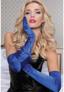 Satin Opera Length Gloves-blue O/s