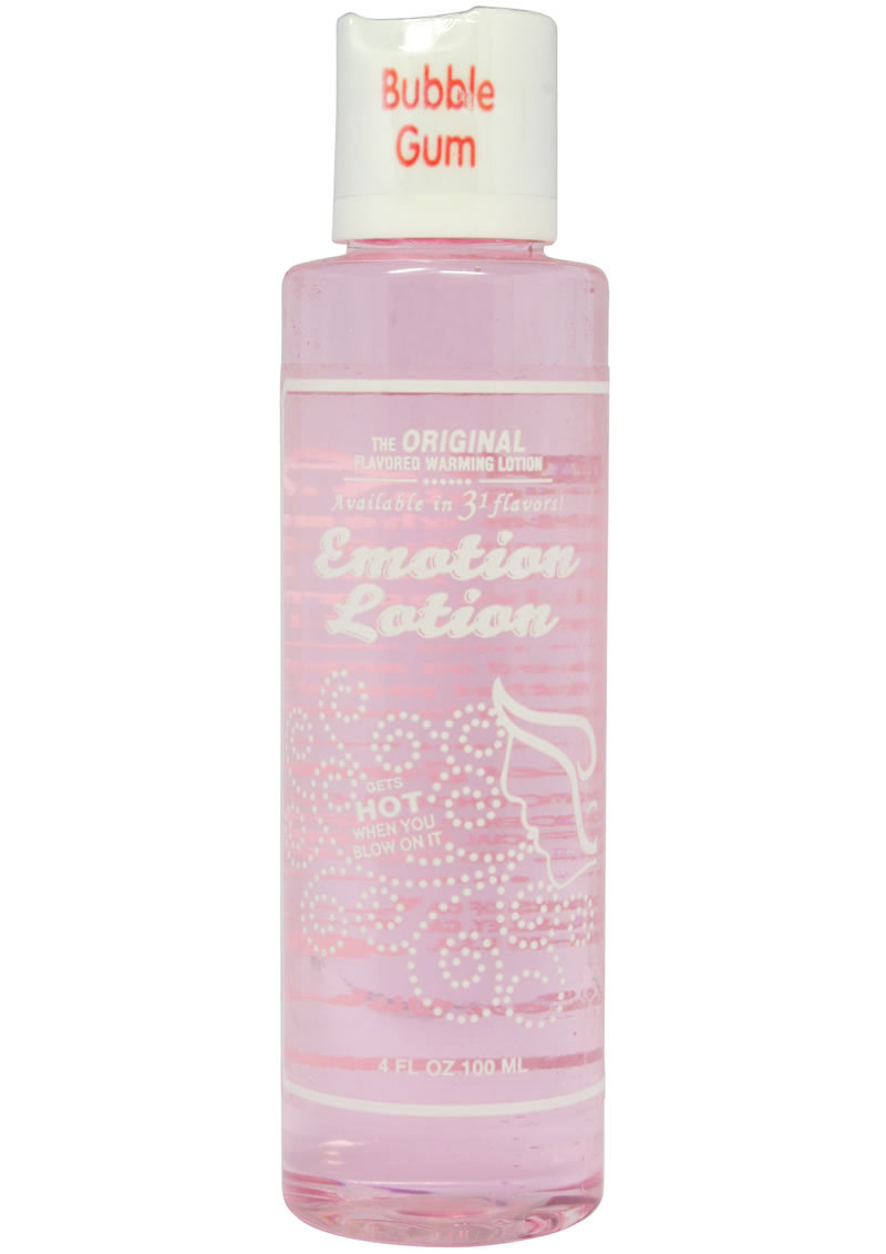 Emotion Lotion Water Based Flavored Warming Lubricant - Bubblegum 4oz