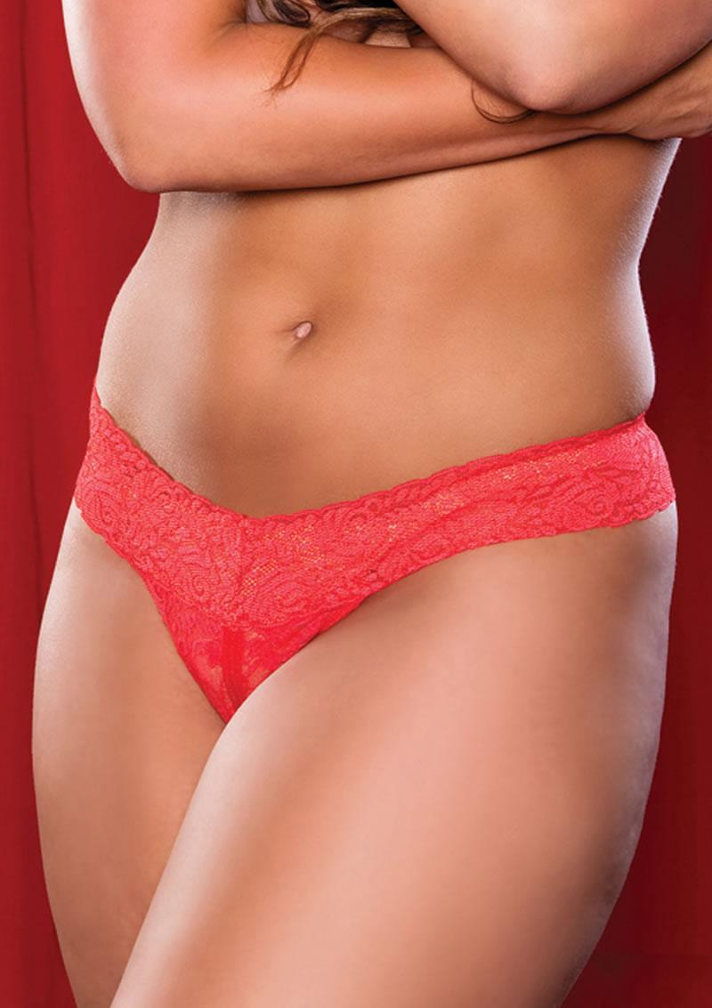 Jenna Crotchless Thong - Red - Q/s