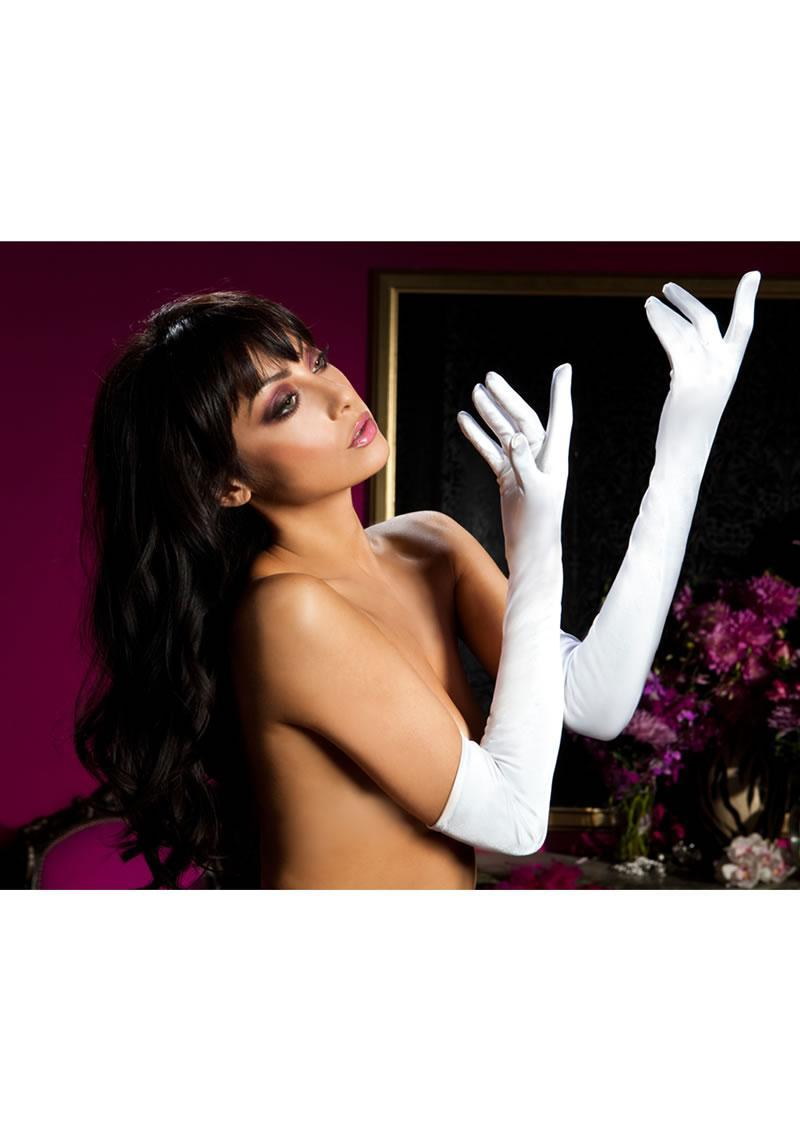 Satin Opera Length Gloves-white O/s