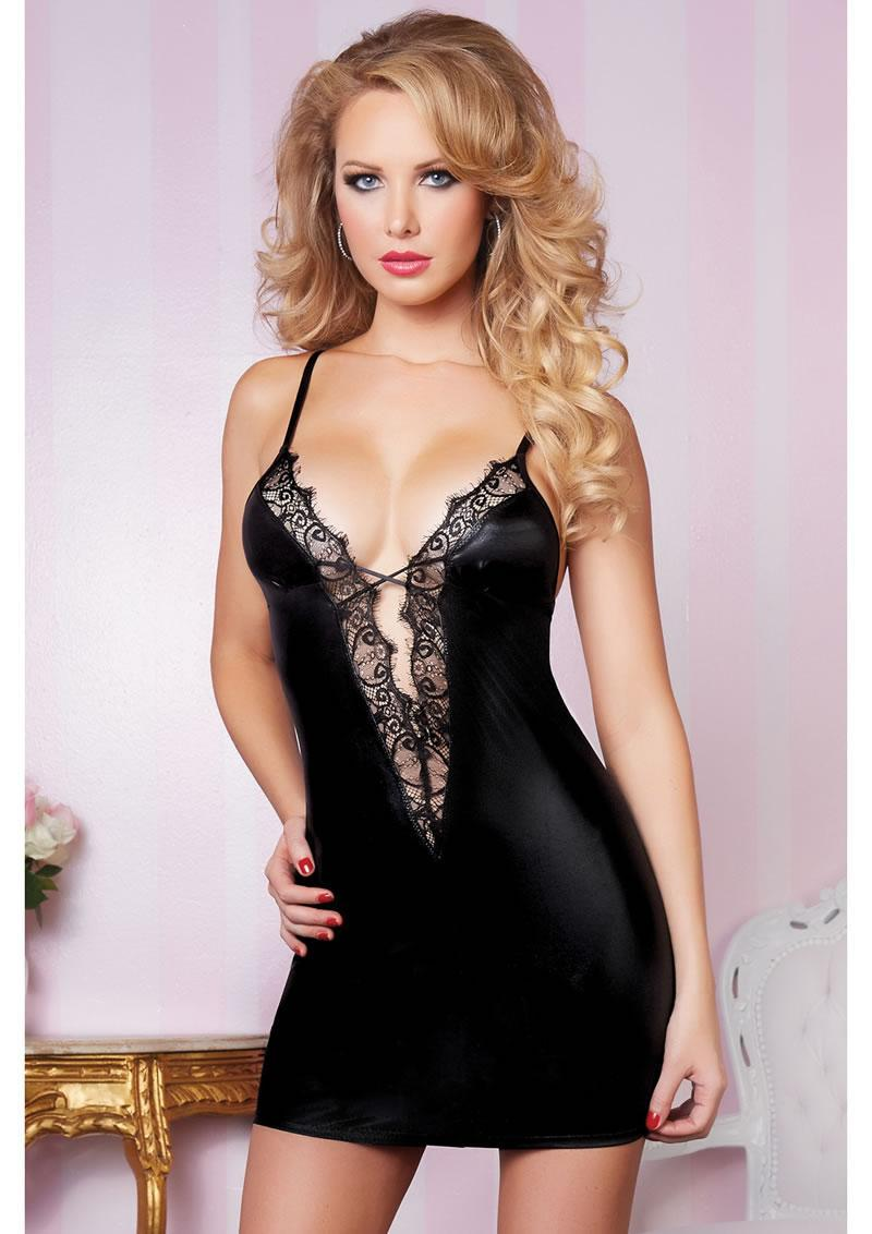 Leather And Lace Dress - Black - Os