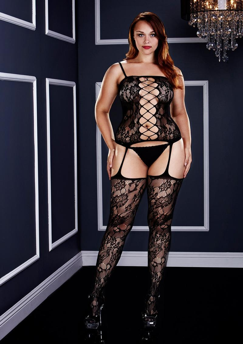 Crst Frnt Suspender Lace Bodystocking Q