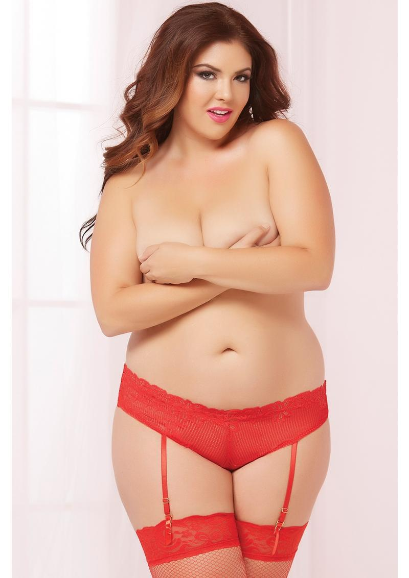 Galloon Lace Opencrotch Panty-red-3x/4x