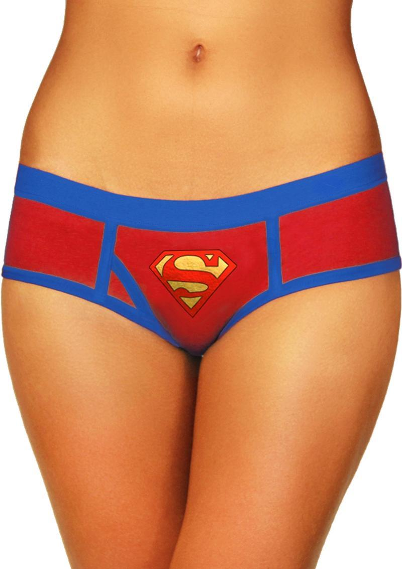 Superman Boyshort W/foil Logo-small