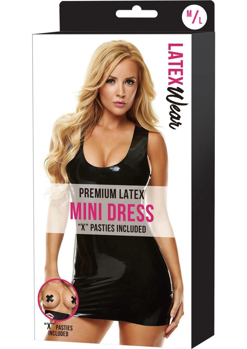 Premium Latex Mini Dress-black-m/l