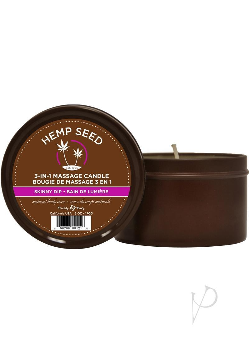 Earthly Body Hemp Seed 3 In 1 Massage Candle - Skinny Dip 6oz