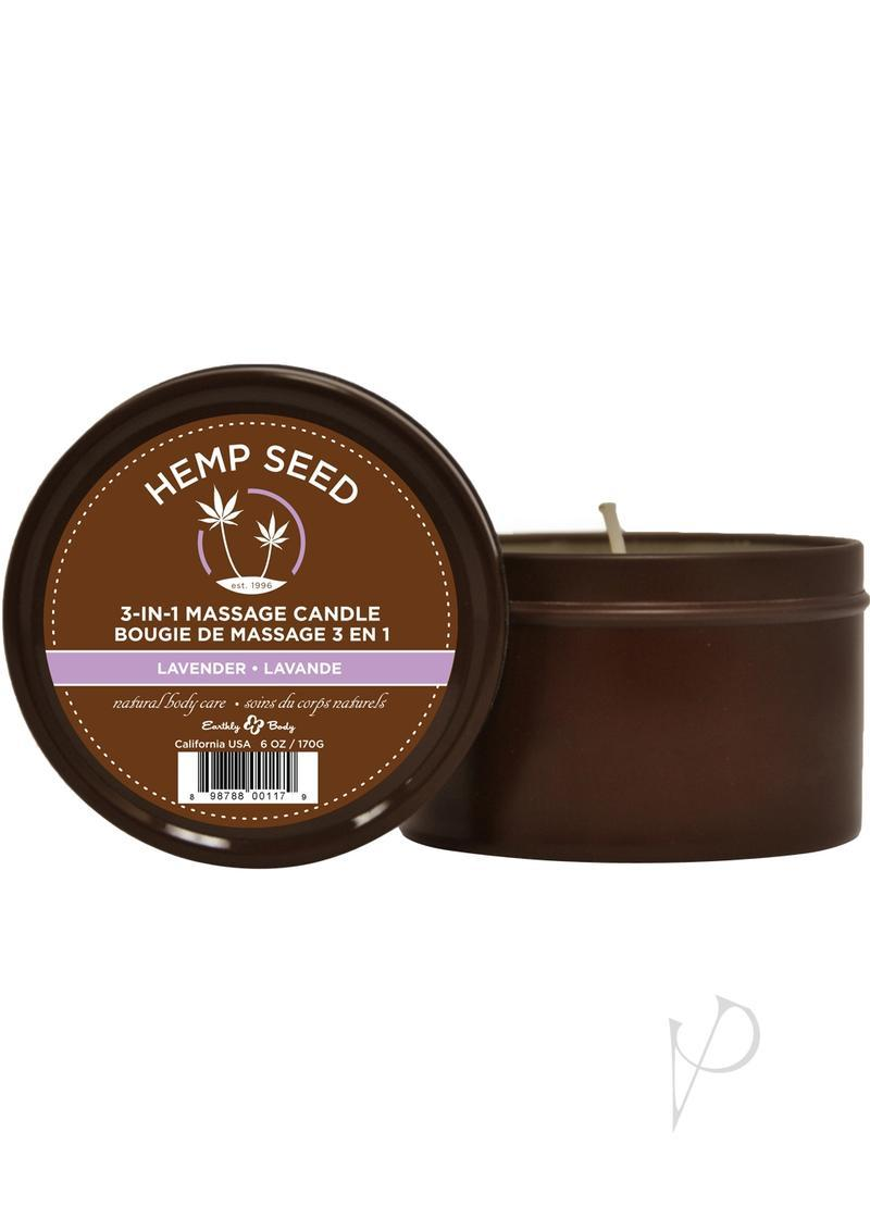 Earthly Body Hemp Seed 3 In 1 Massage Candle - Lavender 6oz