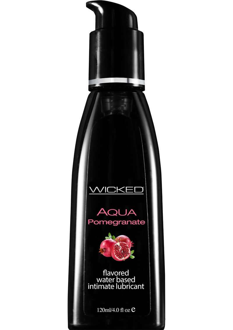 Wicked Aqua Water Based Flavored Lubricant Pomegranate 4 Oz