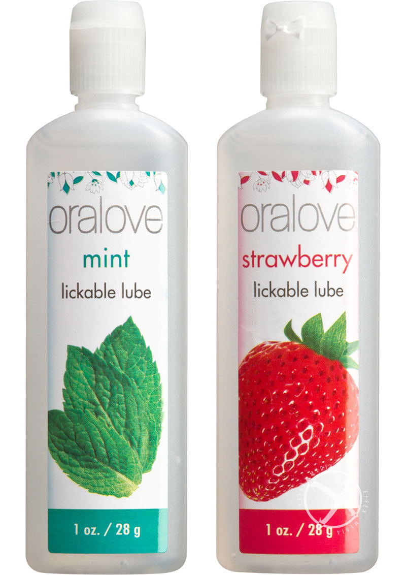 Oralove Delicious Duo Lickable Strawberry And Mint Lubricant 1oz (2 Per Set)