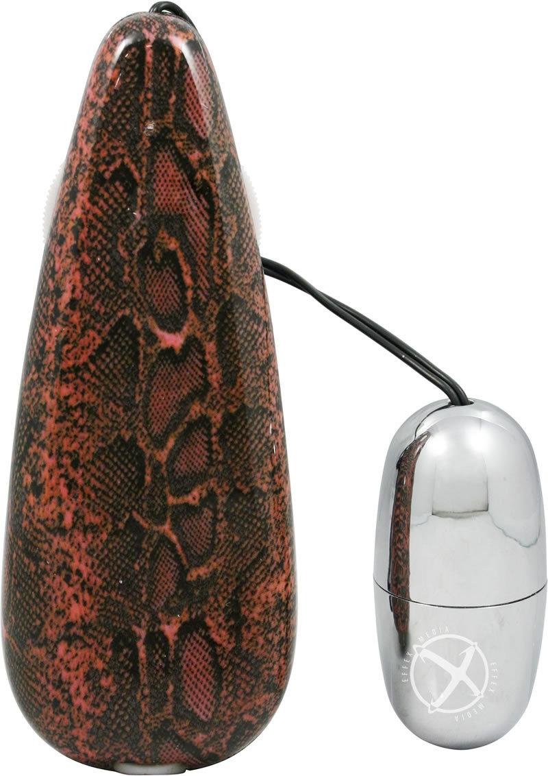 Primal Instinct Bullet With Remote Control - Snake Print - Red